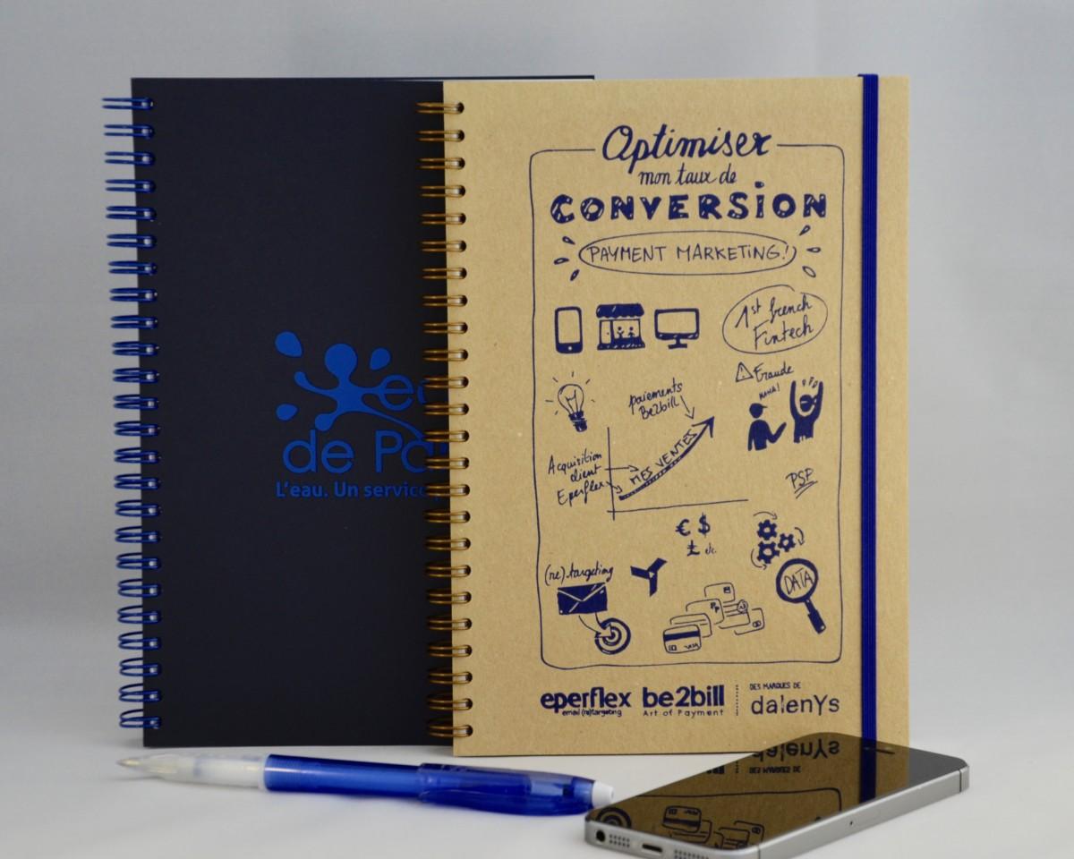 cahiers personnalisés en sérigraphie